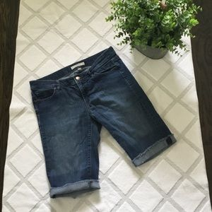 LOFT FRAYED DENIM BERMUDA SHORTS